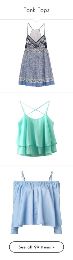 """Tank Tops"" by arianna-marie-organo ❤ liked on Polyvore featuring dresses, vestidos, blue, chloe dress, multicolored dress, colorful dresses, blue dress, multi color mini dress, tops and shirts"