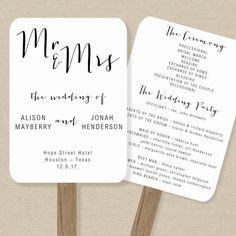 Wedding Program Fan Template Printable Rustic Wedding Fan - Wedding fan program template