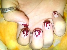 Blood Drips Tips Manicure in Time For Halloween Season! via Craftster by TrickyMcVomit
