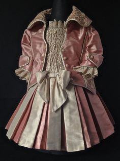 Exquisite antique reproduction Silk doll dress.  For doll approx. 19 tall.  Made in Germany. Sublime detail. Antique laces and materials used. On Etsy.