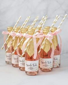 Personalized Bride Tribe bachelorette party mini champagne labels in blush pink and gold, with gold glitter confetti dots and modern black brush script lettering. Perfect for a bachelorette party, bridal shower, engagement party, or wedding favor. Pink Bachelorette Party, Bachelorette Party Invitations, Bridal Shower Invitations, Bridal Shower Favors, Bridal Shower Pink, Bachelorette Party Decorations, Hen Party Decorations, Pink Party Favors, Personalized Party Favors