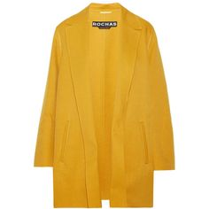 Rochas - Crepe Coat (13,530 MXN) ❤ liked on Polyvore featuring outerwear, coats, jackets, coats & jackets, tops, marigold, open front coat, yellow coat, rochas and rochas coat