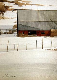 Hillside by Joseph Alleman, Watercolor, 14 x 10 Watercolor Barns, Watercolor Artists, Watercolor Landscape, Landscape Art, Landscape Paintings, Watercolor Paintings, Watercolor Drawing, Watercolours, Gouache