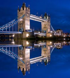 A stunning shot of Tower Bridge reflected in the Thames - on a very still night!