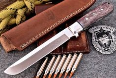 CFK USA Custom Handmade D2 Tool Steel Large Exotic Purple Camel Bone Classic Hunting Camping Skinning Knife with Leather Belt Sheath