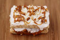 white chocolate caramel pretzel stuffed rice krispy treats