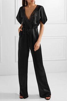 Maiyet - Wrap-effect Organza-trimmed Silk-satin Jumpsuit - Black - US2
