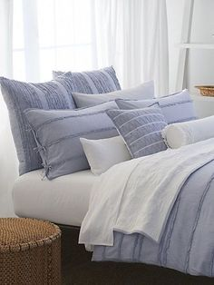 DKNY PURE INNOCENCE SKY BLUE STRIPE EURO Pillow Sham Donna Karan #DKNY