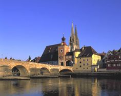 Regensburg, Germany as seen from the Danube River