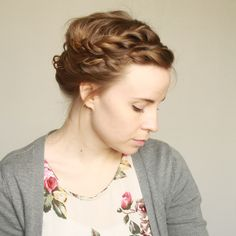 Double-braided Gibson tuck--updo tutorial for short hair