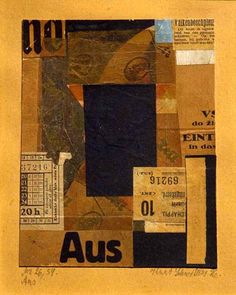 Kurt Schwitters - Mz 26/Aus, 1926 collage, ca. 6 x 5 in.