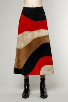 Vintage Anne Klein Patchwork Suede Skirt #vintage #thriftedandmodern #anneklein