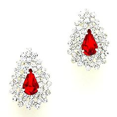 Teardrop Sexy Red Clear Rhinestone Clip-on Silver Stud Earrings Pageant Drag Queen Bridal Show Girl Bride Affordable Wedding Jewelry http://www.amazon.com/dp/B018KUE5CU/ref=cm_sw_r_pi_dp_si5wwb1ER6JBZ