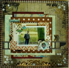 My Guy Scrapbook Page by Romy Veul using BoBunny Wild Card Collection. #BoBunny @romy19