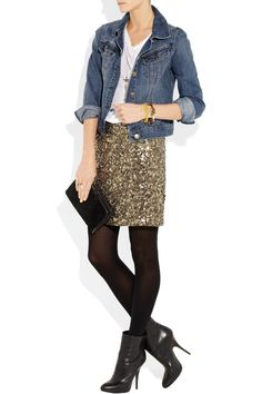 j crew jean jacket and vince skirt = perfect