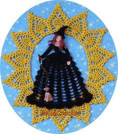 Celeste: A Crinoline Lady Doily By Elizabeth Ann White Size: About across by tall Skill Level: Intermediate- . Halloween Crochet Patterns, Crochet Doily Patterns, Thread Crochet, Crochet Designs, Crochet Doilies, Crochet Home, Free Crochet, Knit Crochet, Crochet Pants