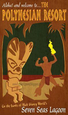 Travel Poster of Polynesian Resort (Disney World) by ArtKicksMyAss on deviantART (hawaiian luau background) Disney Hotels, Disney World Resorts, Disney Vacations, Disney Trips, Disney Travel, Retro Disney, Vintage Disney, Vintage Tiki, Disney Magic
