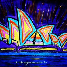 Sydney Opera House - paint and crayon - art for children and teachers