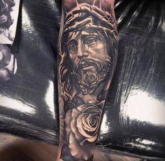 Jesus mit Blume und Dornenkrone Tattoo