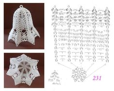 231 Crochet Christmas Ornaments, Christmas Crochet Patterns, Crochet Doily Patterns, Christmas Knitting, Crochet Motif, Crochet Doilies, Crochet Ball, Thread Crochet, Filet Crochet