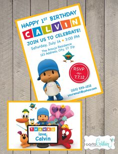 Pocoyo DIY Printable Invitation and Thank You Card Set by CartaCouture. $10.00, via Etsy.