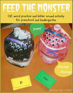 CVC Word and Letter Sound Activity for Preschool and Kindergarten {Feed the Monster} Make milk jug monsters then have children read words or letters before feeding to the hungry monsters.  My boys thought this was hilarious, and it made our phonics lesson exciting!
