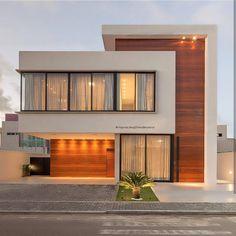 Fachada de casa com painéis de madeira que camuflam as portas de entrada! Best Modern House Design, Modern Villa Design, Modern Exterior House Designs, Minimalist House Design, Dream House Exterior, 2 Storey House Design, Bungalow House Design, House Front Design, Small House Design