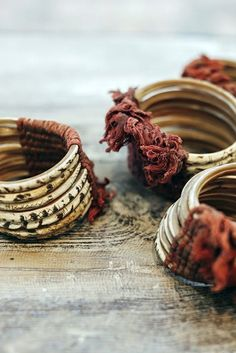 not sure if these are bracelets or rings (for your fingers or napkins) but i really like them Tribal Jewelry, Boho Jewelry, Jewelry Art, Jewelry Bracelets, Jewelry Accessories, Fashion Accessories, Bangles, Beaded Jewellery, Enamel Jewelry