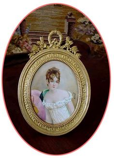 French Miniature Portrait Of Madame Juliette Recamier (1777-1849) Painted on Ivory And Mounted In An Ornate Bronze Frame