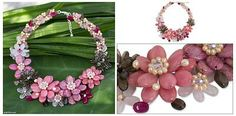 Cultured pearl and rose quartz beaded necklace - Pink Camellia | NOVICA