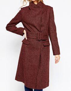 Image 3 ofASOS Coat in Funnel Neck in Tweed
