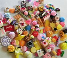 Lot Of 20 Assorted Flat Back Resin Figurines Food Kawaii Cabochons Crafts