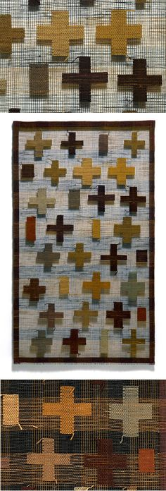 """""""Crosses""""; leno weave, silk and linen.  The bottom detail was from photographing the piece on black.  by Morgan Clifford"""