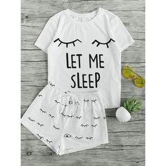 SheIn(sheinside) Closed Eyes Print Tee And Shorts Pajama Set ($17) ❤ liked on Polyvore featuring intimates, sleepwear, pajamas, white, white pajama set, comic book, summer pjs, summer pajamas and cartoon pajamas