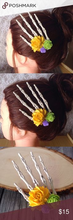 """FREE w/purchase!Skeleton Hand Hair Clip with Roses FREE with ANY purchase of $20 or more!(does not include shipping) comment below if you want this with your purchase!! lovely skeleton hand hair clip is adorned with mustard yellow, lavender and apple green roses. measures almost 5"""". Definitely a statement pieceAn alligator clip is securely attached to the back and works well for all hair types. Handmade by me & brand new. Tags: October, autumn, fall…"""