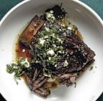Braised Beef Short Ribs with Salsa Verde and Feta recipe