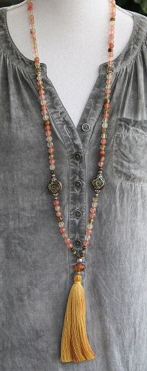 Mala necklace made of 108, 8 mm - 0.315 inch, beautiful faceted cherry quartz gemstones. The mala is decorated with two Nepalese handmade beads.  The total length of the mala is approximately 104 cm - 40.95 inch.