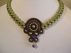 Soutache Olivine Plum and Chocolate Pearl Beadwork Necklace Choker Bib Collar with Gold Bead Accents