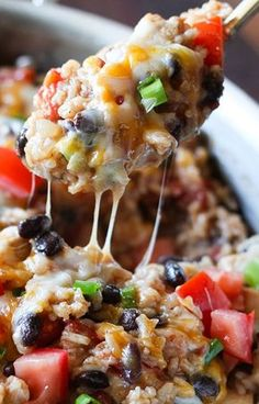 One-Pot Chicken Burrito Bowl. Everything made in me pot. Easy & yummy. Full of southwest flavors.