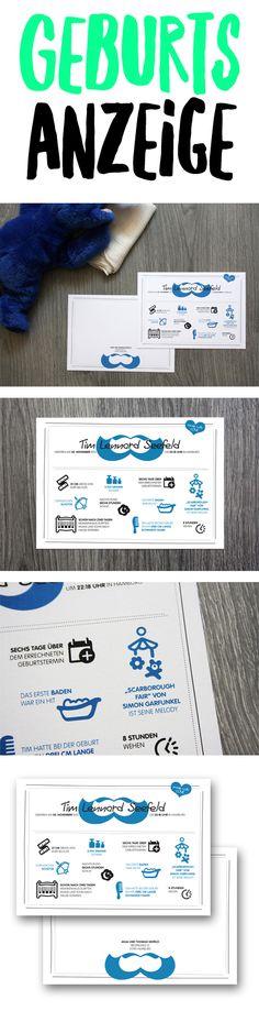 Kleine Details der Geburt in einer Infografik verpackt und als Geburtsanzeige verschickt