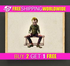 Dark Knight Joker Watercolor Art Print Batman Poster House Wear Wall Art Decor Gift Linen Fabric Print - FREE SHIPPING - 221s2g