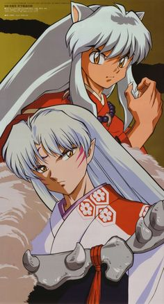 The half-brothers InuYasha (half dog-demon) and Sesshomaru (full dog-demon) - InuYasha Official Artwork