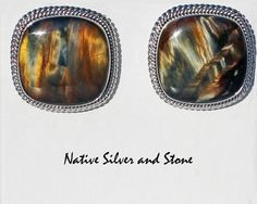 Artie Yellowhorse - Navajo. Handmade post earrings.  Pietersite squares with double twist sterling silver perimeter accents from Native Silver and Stone