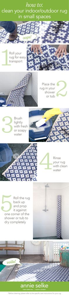 5 easy steps for cleaning your indoor/outdoor rug in small spaces. Think you need a big backyard to clean an indoor/outdoor rug? Think again! Learn how to clean yours with our step-by-step tutorial. Apartment dwellers take note!