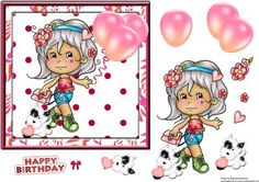 Little Miss Flower on Craftsuprint designed by Barbara Alderson - step by step decoupage on a card front - Now available for download!