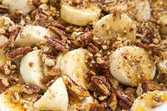Slow Cooker Banana Pecan French Toast. A simple, healthy breakfast made in the crockpot.