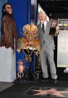 Rick Baker with some of his monster creations