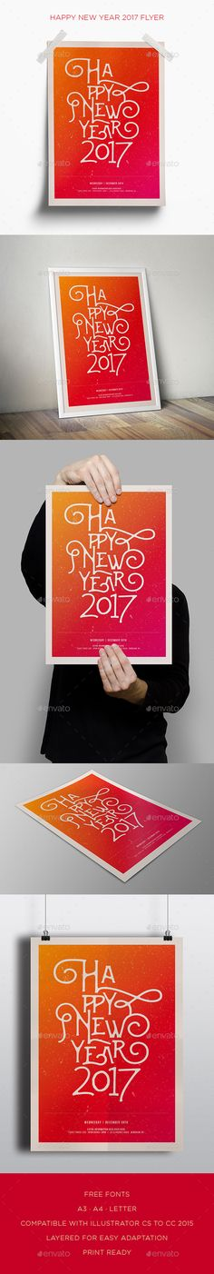 Happy New Year 2017 Flyer  — EPS Template #minimal #clean • Download ➝ https://graphicriver.net/item/happy-new-year-2017-flyer/18255867?ref=pxcr