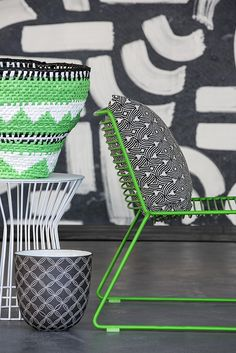 We love the use of bright green and monochromoe black and white in the handwoven basket from Design Afrika. Creating a real handfelt texture and dimension  Highlights from the 100% Design South Africa
