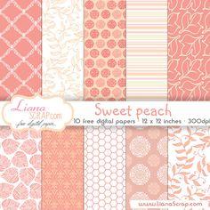 Free digital paper pack – Sweet Peach Set…